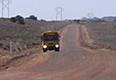Bus on rural road